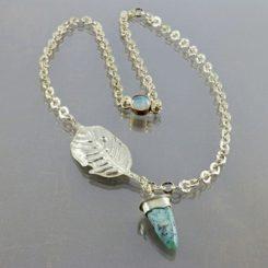 Asymmetric silver leaf chain necklace