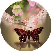 Garnet butterfly lariat
