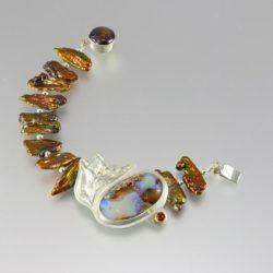 Silver roseleaf bracelet with opal