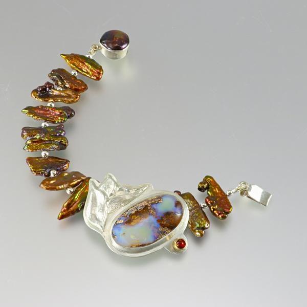 Repousse silver bracelet