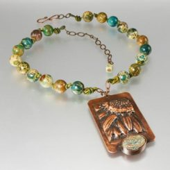 Sunflower copper repousse necklace